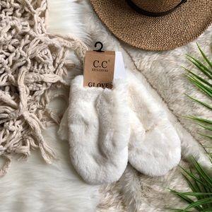 C.C Exclusives White Faux Fur Convertible Mittens